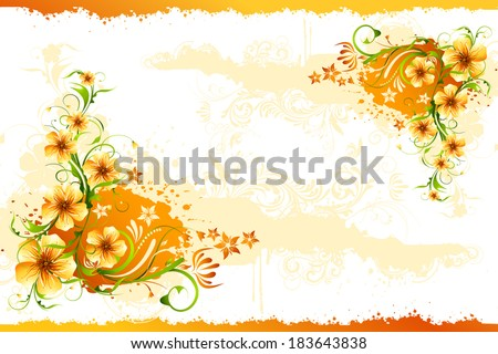 illustration of bunch of colorful flower with grungy frame - stock vector