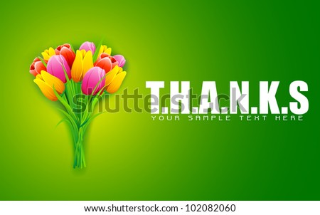 illustration of bunch of colorful tulip on thanks background - stock vector