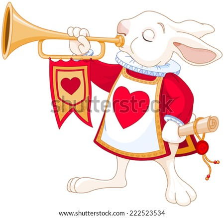 Illustration of Bunny royal trumpeter - stock vector