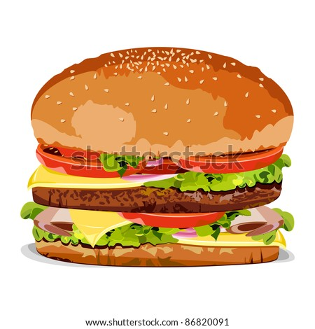 illustration of burger on an isolated background - stock vector