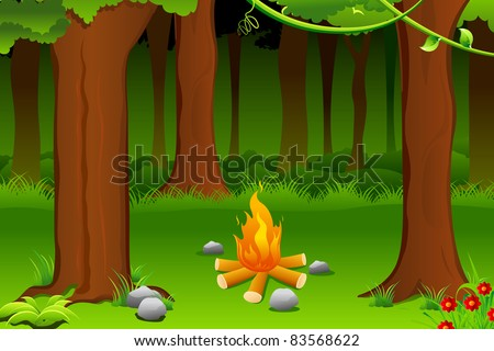 illustration of burning bonfire in forest with tree - stock vector