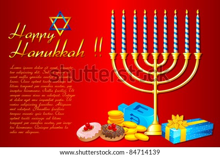 illustration of burning candle in Hanukkah Menorah with gifts - stock vector