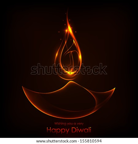 illustration of burning diwali diya on Diwali Holiday background - stock vector