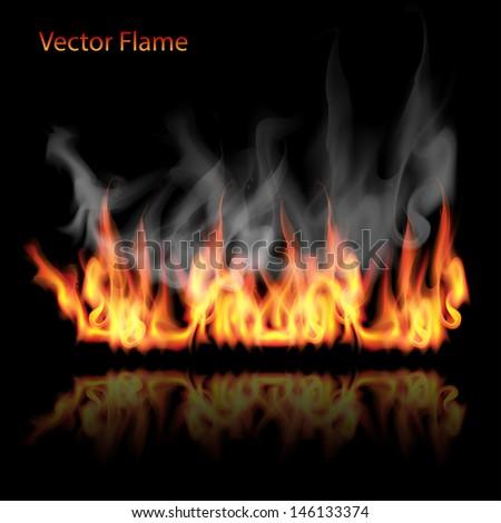 illustration of burning fire flame on black background  - stock vector