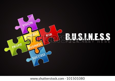 illustration of business background with jigsaw puzzle - stock vector