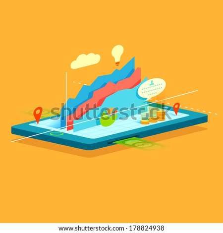 illustration of business graph on mobile screen showing online business - stock vector