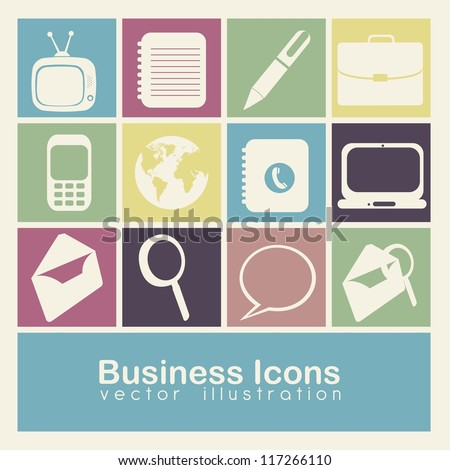 Illustration of business icons colors boxes, vector illustration