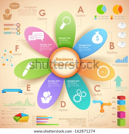 illustration of Business Infographics Chart - stock vector