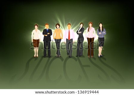illustration of business man and woman forming success shadow - stock vector