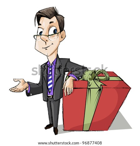 illustration of business man standing with gift box - stock vector
