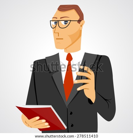 illustration of business man with glasses standing with business diary and ball pen staring