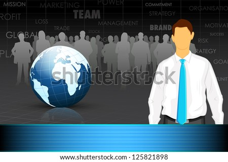 illustration of business man with team and globe in background - stock vector