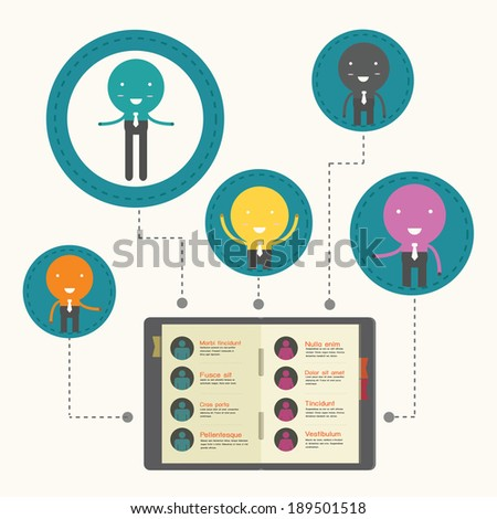 illustration of business network concept ,organization chart. - stock vector