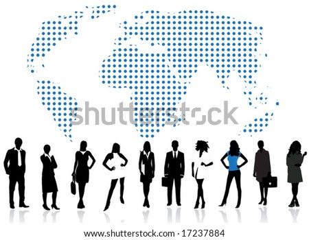 Illustration of business people and world map