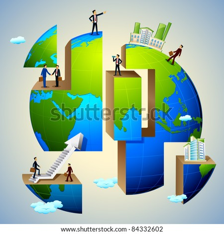 illustration of business people doing different activities on earth - stock vector