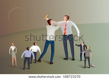 Illustration of  business people fighting over a carrot - stock vector