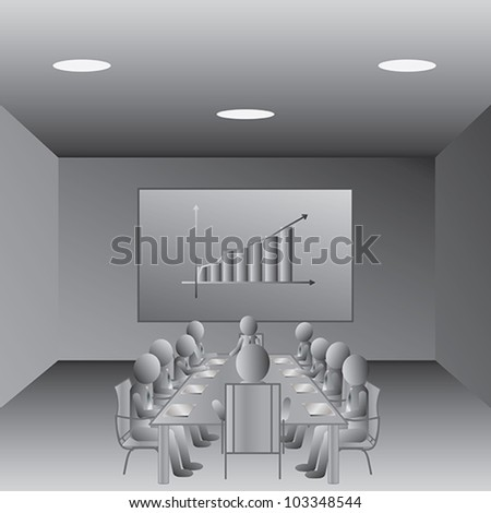 illustration of business people meeting in a conference room. - stock vector