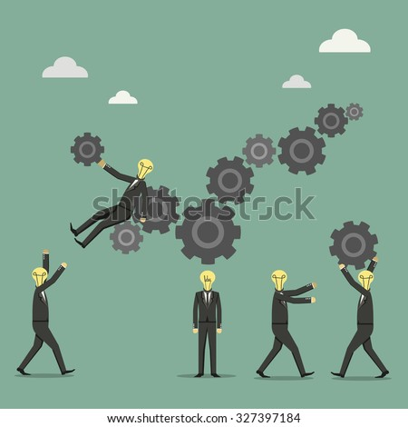 illustration of business people on cog wheel showing team work - stock vector