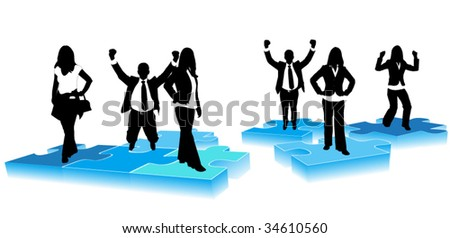 Illustration of business people on puzzle
