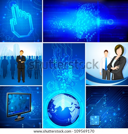 illustration of business people on technology template - stock vector