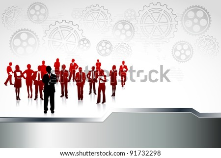 illustration of business people standing in abstract industrial background