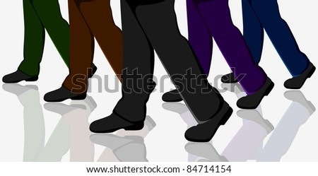 illustration of business people walking in crowd on road