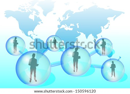 Illustration of business people with tablet in social network - stock vector