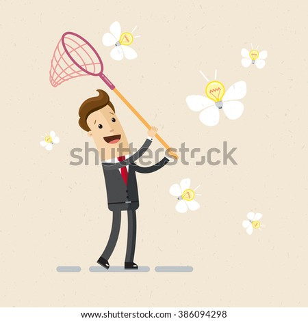 Illustration of business project, ideas. A man in a suit catches ideas with butterfly net. Vector, EPS 10 - stock vector