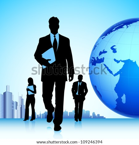 illustration of business team in front of globe - stock vector