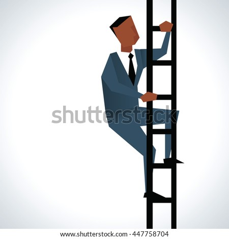 Illustration Of Businessman Climbing Ladder