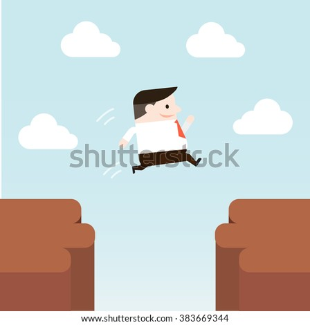 Illustration of businessman is jumping to other side of cliff. Vector illustration flat style.