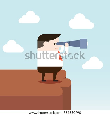 Illustration of businessman is looking forward by using binoculars. Vector illustration flat style.