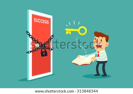 Illustration of businessman open a book that has key to unlock door to success - stock vector
