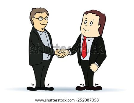 Illustration of businessman, shaking hands - stock vector