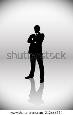 illustration  of businessman standing  on grey background - stock vector