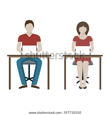 Illustration of businessman working on computer. Man and woman working with laptop. Man woman sits at a desk and working at the computer. Vector modern illustration of working process. - stock vector