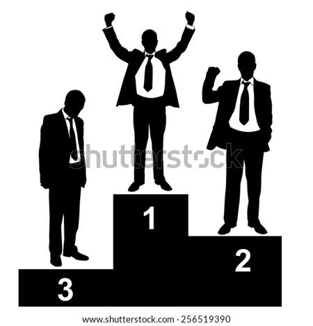 illustration of businessmen on podium - stock vector