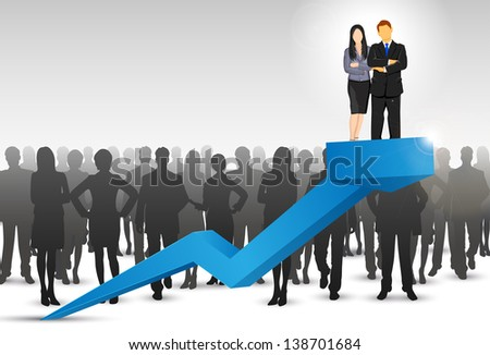 illustration of businesspeople standing on arrow - stock vector