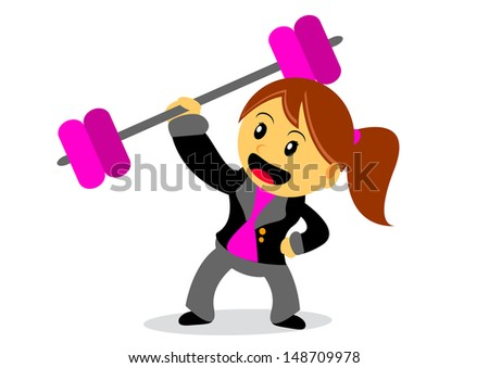 illustration of businesswoman cartoon character with her activity - stock vector