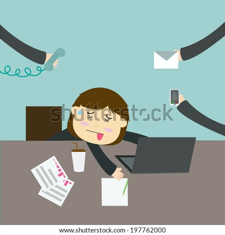Illustration of busy business woman with hard work - stock vector