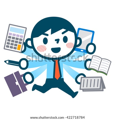 Illustration of busy businessman - stock vector