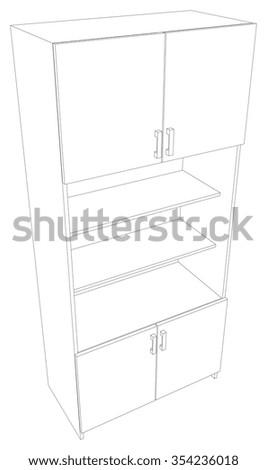Illustration of cabinet on white background. Vector illustration - stock vector