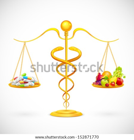 illustration of caduceus beam balance with medicine and fruit - stock vector
