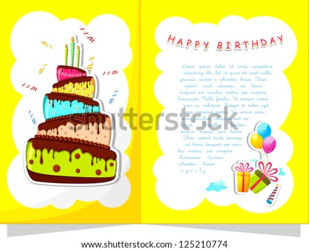 illustration of cake and gift boxes in birthday card - stock vector