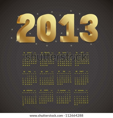 illustration of calendar 2013, with numbers in 3D, vector illustration