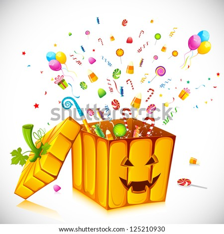 illustration of candies poping out from pumpkin shape gift box for halloween - stock vector