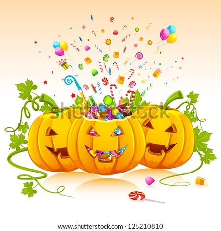 illustration of candies popping out from pumpkin for halloween - stock vector
