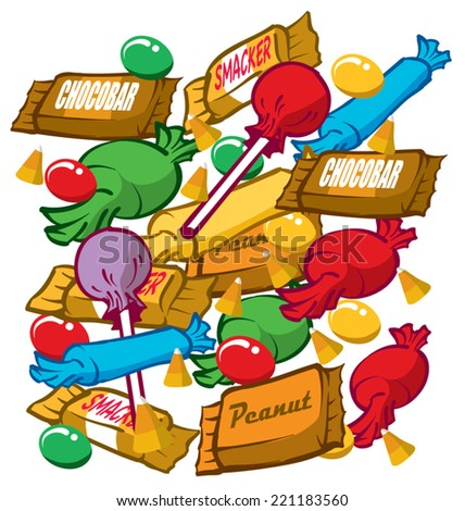 Illustration of candy pieces - stock vector