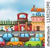 illustration of cars and kids on the road - stock photo
