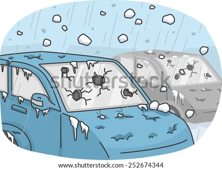 Illustration of Cars Incurring Heavy Damages Due to a Hail Storm - stock vector
